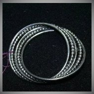 Danecraft Sterling Silver Artsy Oval Circle Pin