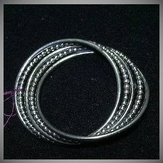 Danecraft Sterling Silver Artsy Oval Circle Pin