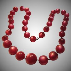 Cherry Deep Pink Lustrous Faux Moonstone Beads Necklace