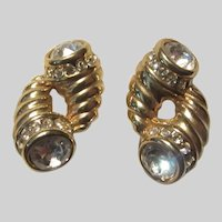 Gold Tone Metal Cornucopia Clip Earrings Jeweled Accents