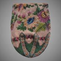 Very Old Beaded Bag Ornate Flowers Crochet Top Purse Bead Needlework