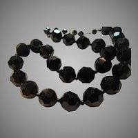Black Faceted Large Glass Beads Choker Necklace
