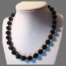 Black Faceted Glass Beads Necklace