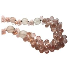 Unusual Glass Beaded Necklace Clear With Pink Droplet Beads