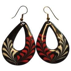 Older Black Red White Enamel on Copper Pierced Earrings