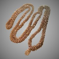 Old Crochet Glistening Iridescent Rope Necklace
