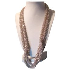 Pale Pink Crystals Beads Crochet Woven Rope Necklace