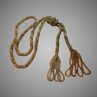 Gold And Silver Glass Crochet Braided Seed Beads Rope Necklace