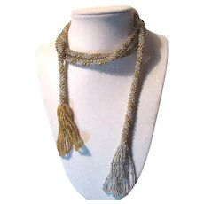Gold & Silver Tone Seed Beads Crochet Woven Rope Necklace