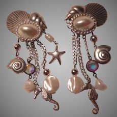 Silver Metal Clip Earrings Sea Shore Designs