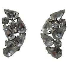 Signed  Kramer Rhinestone Clip Earrings