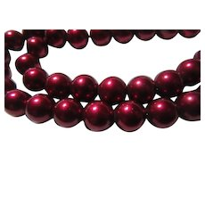 Deep Cherry Red Metal Beads Choker And Bracelet Beaded Necklace Set