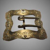 Very Old Gold Tone Metal Buckle Art Nouveau