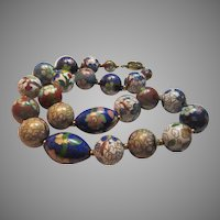 Large Fine Cloisonne Beads Choker Necklace