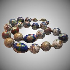 Large Fine Cloisonne Beads Choker Necklace