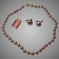 Marvella Silver Faux Pearls Necklace Clip Earrings Set