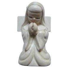Praying Nun Figurine Wall Pocket Vase