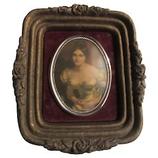 Beautiful Lady Miniature Print Framed Cameo Art