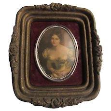 Beautiful Lady Miniature Print Framed Cameo Art