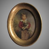 Young Boy With Dog Florentine Miniature Art Print Framed