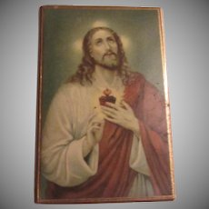 Jesus Sacred Heart Old Celluloid Coated Miniature Print Art Icon