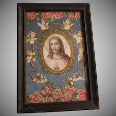 Jesus With Angels Framed Old Print Sacred Heart