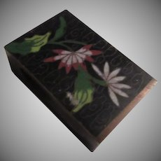 Old China Cloisonne Matchbox Cover Asian Oriental Metalwork Arts