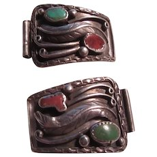 Old Native American Sterling Silver Turquoise Signed Watch  Pieces