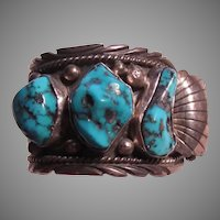 Native American Navajo Signed Watch Turquoise Nuggets