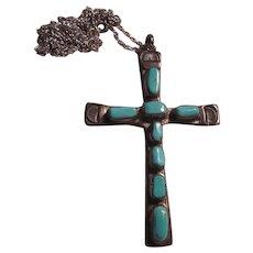 Horace Iule Zuni Native American Silver Turquoise Cross Pendant