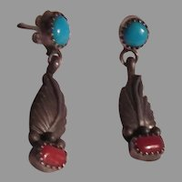 Native American Sterling Silver Turquoise Coral Feather Pierced Earrings
