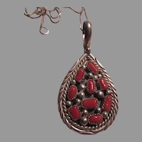 Signed Native American Sterling Coral Pendant