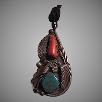 Native American Signed Sterling Silver Turquoise Coral Pendant