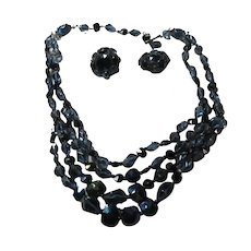 Western Germany Blue Iridescent Triple Strand Beads Choker Necklace Clip Earrings Set