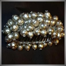 Old Faux Pearl Bracelet From Japan Expansion Design Rhinestone Tips Fine Vintage Costume Jewelry