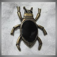 Old Black Beetle Pin Art Deco Jewelry