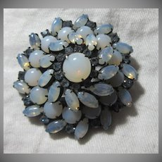 Opalescent Blue Vintage Costume  Brooch Designer Jewelry