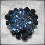 Eisenberg Brooch Sapphire Blue Rhinestone Pin  Fine Signed Designer Jewelry