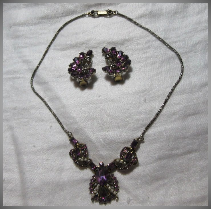Hollycraft Signed Dated 1953 Demi Parure Necklace Earring Set Purple