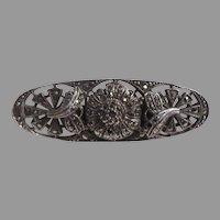 Sterling Silver Marcasites Bar Pin Brooch