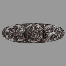Sterling Silver Marcasites Bar Pin Brooch