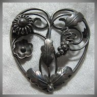 Gussi of Sweden Sterling Silver Ornate Heart Brooch  Fine Jewelry Signed