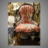 Victorian Carved Back Floral Upholstered Lady Chair