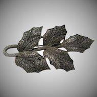 Fahrner Original Gold Wash Sterling  Marcasites  Leaf Brooch Ornate Metalwork Fine Jewelry