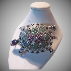 Sterling Silver Turtle Pin Pendant  Rubies Emeralds Sapphires Fine Jewelry Brooch Vintage