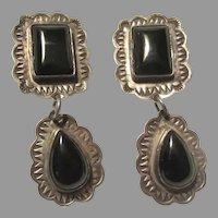 Silver Metal Black Onyx Clip Earrings