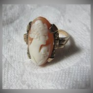 Antique Cameo 10K Gold Ring Carved Shell Jewelry