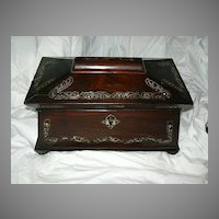 Antique English Rosewood Tea Caddy With MOP Inlay