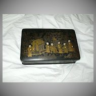 Papier Mache Oriental Design Playing Card Box