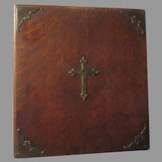 Antique Wood Religious Box Cross On Top